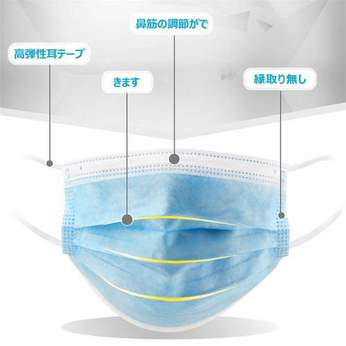 マスク3層構造飛沫防止KOUZ002