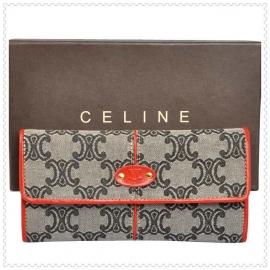 財布 コピー (CELINE)セリーヌ 長財布 ロゴ模様 グレー/レッド celine045