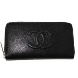 財布 コピー シャネル A50071 CCマーク付きキャビアスキン ジップウオレット 黒/シルバー金具 ラウンドファスナ