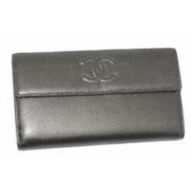 財布 コピー シャネル A48649 キャビアスキンプリント ダブルホック長財布 グレー 新品