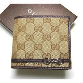 グッチコピー ホースビット GG柄二つ折財布(ベージュ×ダークブラウン) 245773 FAFXN 9569