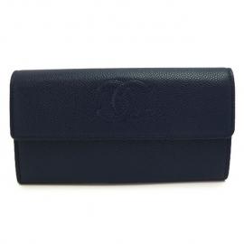 財布 コピー シャネル 長財布 二つ折りフラップ  ココマーク キャビアスキン/レザー ネイビー A50070