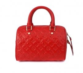ルイ·ヴィトンのバッグフルレザーレディースハンドバッグM40763赤の印刷版