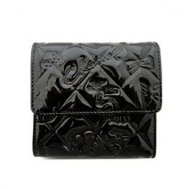 (CHANEL)シャネル コピー 財布 新作 激安 シンボルチャームWホック二つ折財布 黒 エナメルレザー A37152