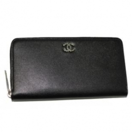 財布 コピー シャネル A46419 CCメタル ジップウオレット ミニキャビアスキン 黒 新品