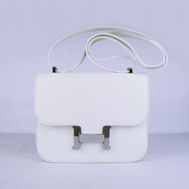 エルメス コピー バッグ コンスタンスミニボックスカーフ ホワイト金具シルバー hermes20012