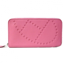 (HERMES)エルメス ブランド 財布 (N級品) エヴリンロングジップ 長財布 ピンク シェーブル H-108