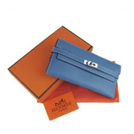 財布 コピー エルメスブランド ケリーウォレット ブルー HR12035