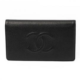 財布 コピー シャネル長財布 二つ折りフラップ ココマーク キャビアスキン/レザー ブラック A48651