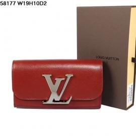 ルイヴィトンコピー新品財布折りたたみ長め金属ボタン深紅の58177