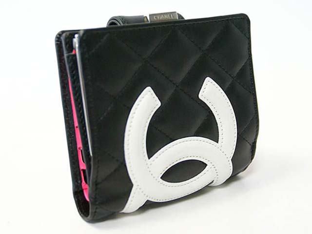 (CHANEL)シャネル コピー 財布 カンボンラインガマ口財布 黒×白 A26720