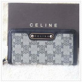 財布 コピー (CELINE)セリーヌロゴ模様 グレー/ダックブルー celine039
