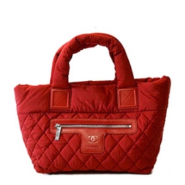 バッグ 偽物 シャネルナイロントートバッグ 赤×カーキ A48610