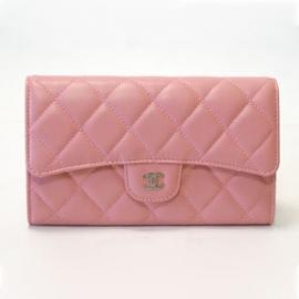 財布 コピー シャネル マトラッセ3つ折り ピンク A31506