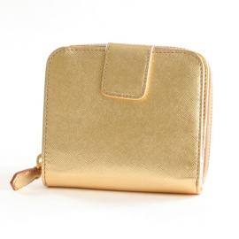 財布 コピー プラダ サフィアーノ Metal 二つ折財布 ゴールド 1M0522