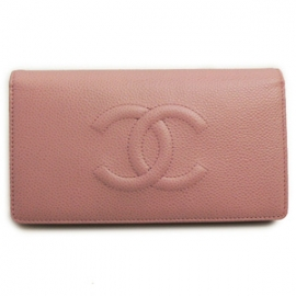 財布 コピー シャネル 長財布二つ折りフラップココマーク キャビアスキン/レザー ピンク A48651