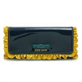 財布 コピー ミュウミュウ 長財布リボン&フリル付き エナメルレザー ダークブルー×トパーズ 5M1109