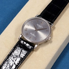 ロレックスコピー チェリーニ 5115/9 ステンレス・ホワイトゴールド 手巻き 灰ローマ文字盤 黒クロコレザー 新品。