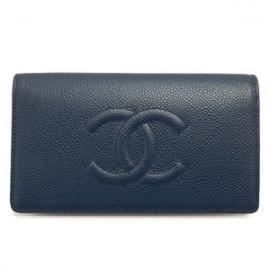財布 コピー シャネル 長財布二つ折りフラップ ココマーク キャビアスキン/レザー ネイビー A48651