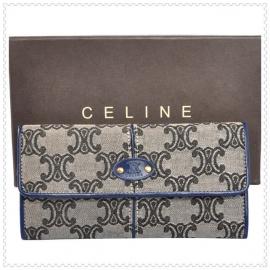 財布 コピー (CELINE)セリーヌロゴ模様 グレー/ブルー celine043