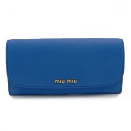 財布 コピー ミュウミュウ 2013年新作二つ折り 型押しレザー コバルトブルー 5M1109