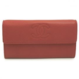 財布 コピー シャネル 長財布二つ折りフラップココマーク キャビアスキン/レザー ライトブラウン A50070