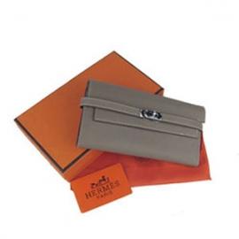 財布 コピー エルメス ケリーウォレット グレー HR12023