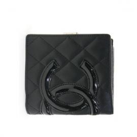(CHANEL)シャネル コピー財布 二つ折り財布 カンボンライン ブラック A26720
