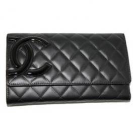 財布 コピー シャネル A46654 カンボンライン 三つ折りロングウオレット 黒×黒/ピンク 新品