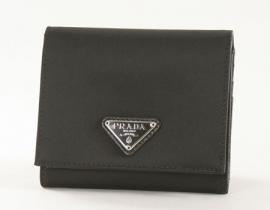 財布 コピー プラダ テスート 三つ折財布 ブラック 1M0176