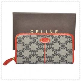 財布 コピー (CELINE)セリーヌロゴ模様 ラウンドファスナー グレー/レッド celine048