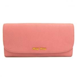 財布 コピー ミュウミュウ 2013年新作 二つ折りフラップ 型押しレザー ローズピンク 5M1109