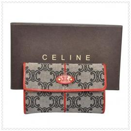 財布 コピー (CELINE)セリーヌミドルロゴ模様 グレー/レッド celine035