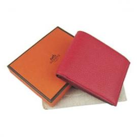 財布 コピー エルメスブランド コンパクト 二つ折り財布トリヨンクレマンス レッドHR15336