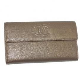 財布 コピー シャネル A48649 キャビアスキンプリント ダブルホック ブロンズ 新品