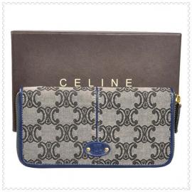 財布 コピー (CELINE)セリーヌロゴ模様 ラウンドファスナー グレー/ブルー celine047