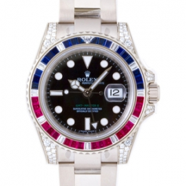 ロレックスコピー GMTマスターII サファイア・ルビー・ダイヤベゼル ブラック 116759SARU