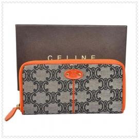 財布 コピー (CELINE)セリーヌロゴ模様 ラウンドファスナー グレー/オレンジ celine046