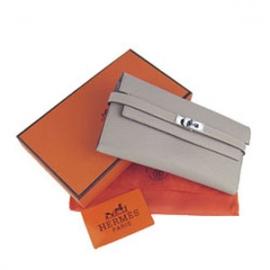財布 コピー エルメスブランド ケリーウォレット グレー HR12037