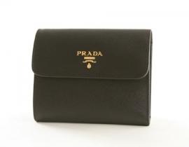 財布 コピー プラダ サフィアーノ Metal 二つ折財布 ブラック 1M0170