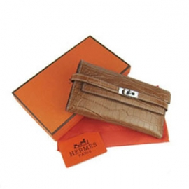 財布 コピー エルメスブランド ケリーウォレット クロコダイル ライトコーヒーHR12030