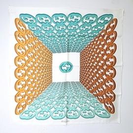 グッチコピー CARILLON TWILL シルクスカーフ(エメラルド+オレンジ)280610 3G001 9069